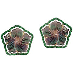 Goshwara Mother of Pearl and Brown Diamond Flower Clip Earring