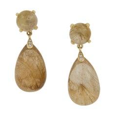 "Goshwara ""Naughty"" Rutliated Quartz 18 Karat Yellow Gold Drop Earrings"