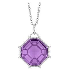 Goshwara Octagon Amethyst and Diamond Pendant