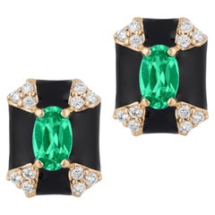 Goshwara Octagon Shape Black Enamel with Emerald and Diamonds Stud Earrings