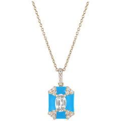 Goshwara Octagon Turquoise Enamel with Diamonds Pendant