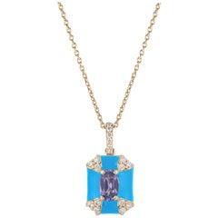 Goshwara Octagon Turquoise Enamel with Sapphire and Diamonds Pendant