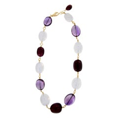 Goshwara One of a Kind Gold, Amethyst, Moon Quartz and Rubelite Beaded Necklace