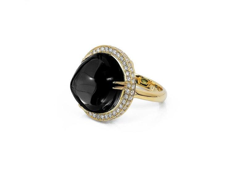 Round Cut Goshwara Onyx Cabochon And Diamond Ring For Sale
