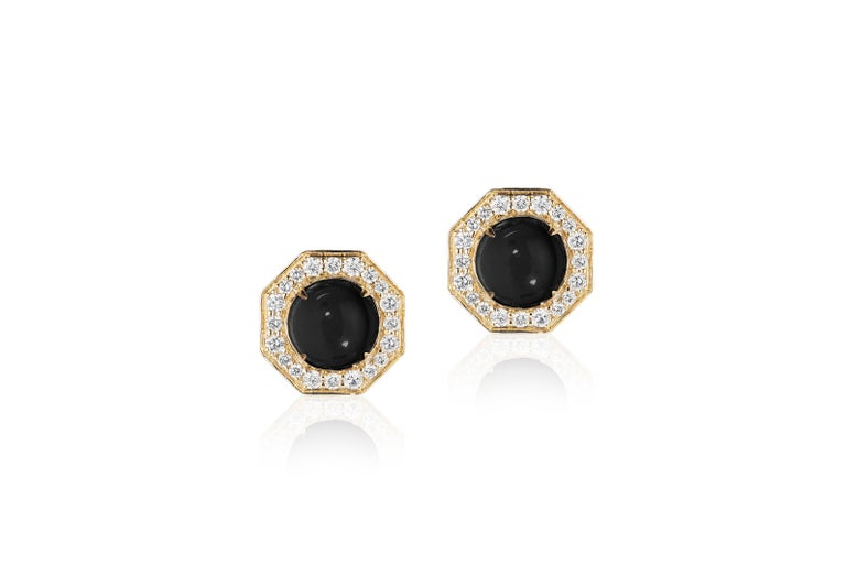 Goshwara Onyx Cabochon And Diamond Stud Earrings In New Condition For Sale In New York, NY