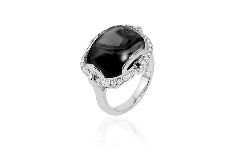 Onyx Cushion Cabochon Ring in 18K White Gold with Diamonds from 'Rock 'N Roll' Collection  Stone Size: 16 x 13 mm   Diamonds: G-H / VS, Approx Wt:0.34 Cts