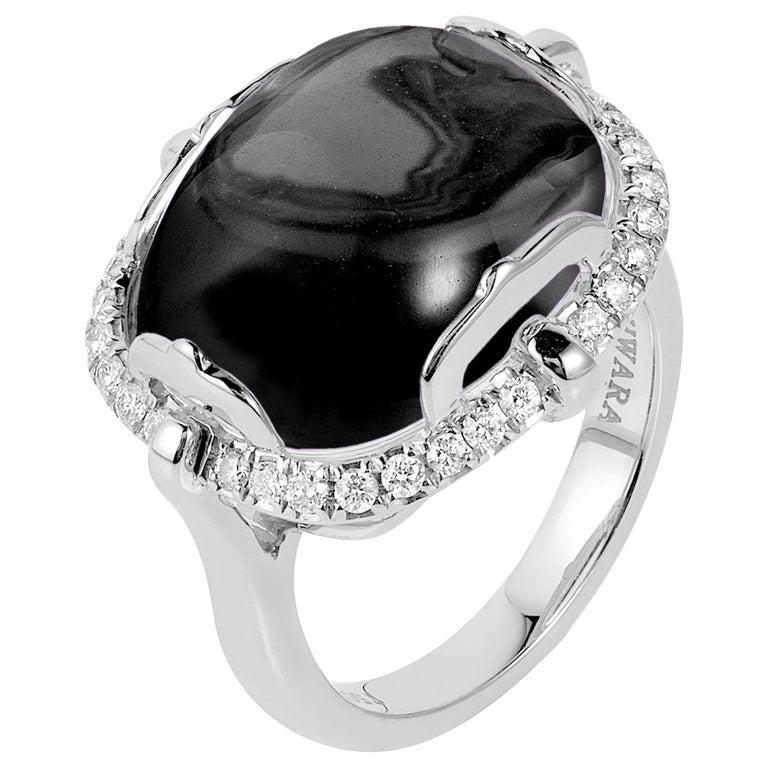 Goshwara Onyx Cushion Cabochon and Diamond Ring For Sale