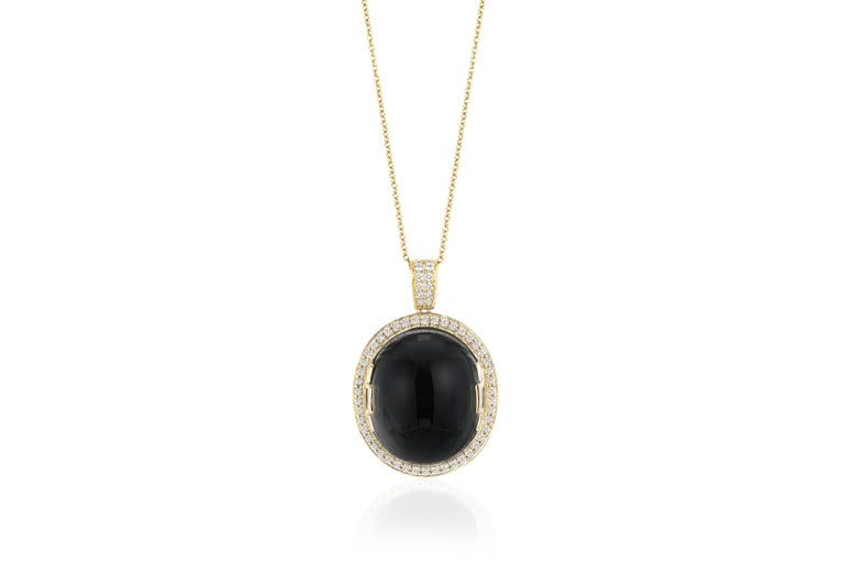 Onyx Oval Cabochon Pendant in 18K Yellow Gold with Diamonds from 'Rock 'N Roll' Collection   Chain Lenght 18