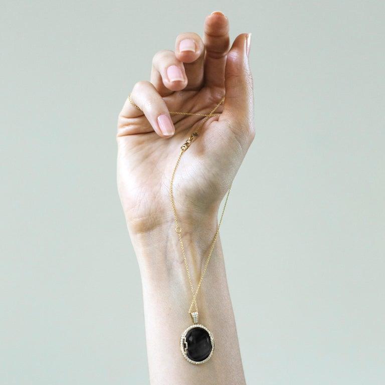 Contemporary Goshwara Onyx Oval Cabochon and Diamond Pendant For Sale