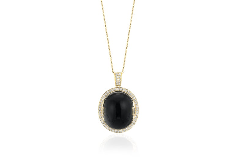 Goshwara Onyx Oval Cabochon and Diamond Pendant In New Condition For Sale In New York, NY