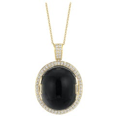 Goshwara Onyx Oval Cabochon and Diamond Pendant