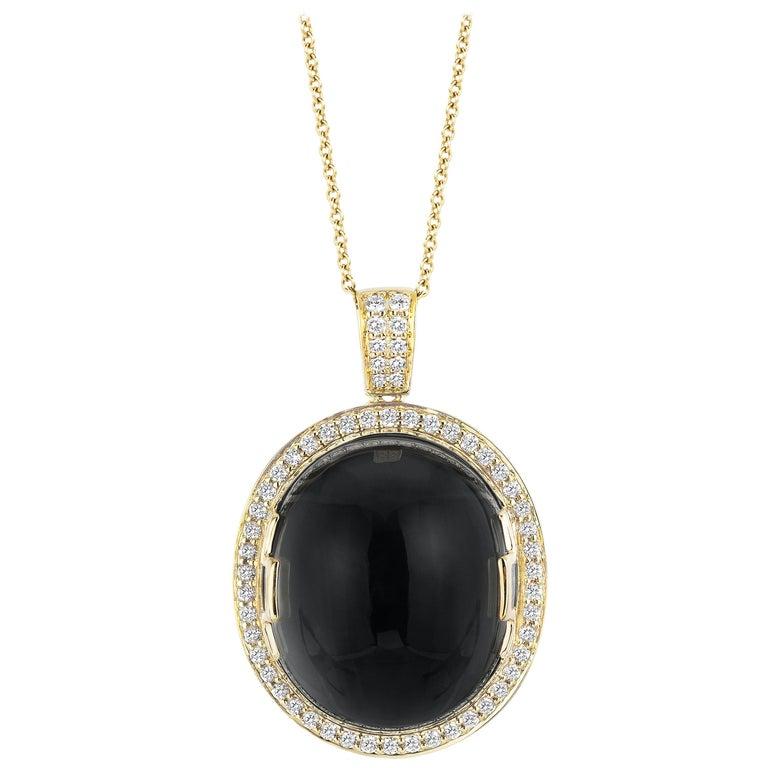 Goshwara Onyx Oval Cabochon and Diamond Pendant For Sale