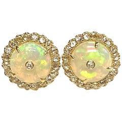 Goshwara Opal Bead Stud with Rose Cut Diamonds Earrings