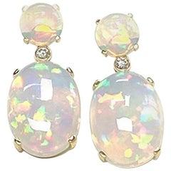 Goshwara Opal Cabochon with Diamonds Earrings