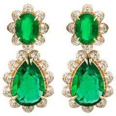 Goshwara Oval and Pear Shape Emerald with Diamonds Earrings