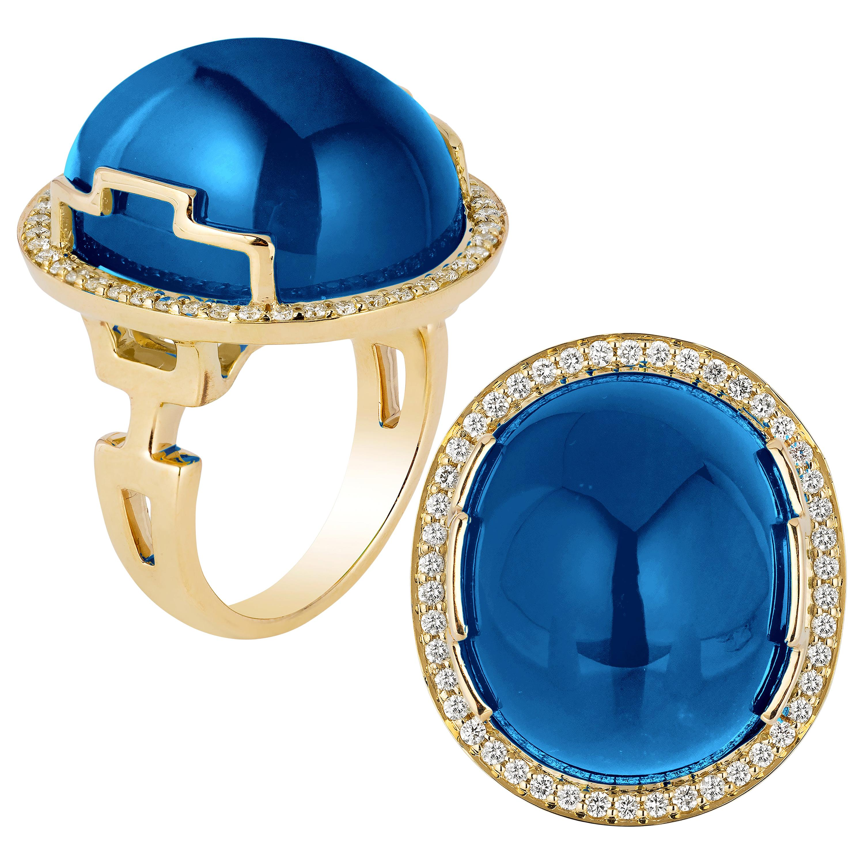 Goshwara Oval Cabochon London Blue Topaz and Diamond Ring