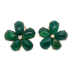 Goshwara Pear Cabs Emerald Cluster with Diamond Earrings