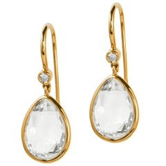 Goshwara Pear Shape Moon Quartz Briolette and Diamond Earrings