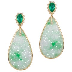 Goshwara Pears Shape Emerald, Carved Jade with Diamond Earrings