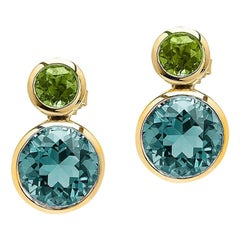 Goshwara Peridot and Blue Topaz Double Bezel Earrings