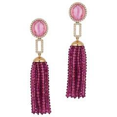 Goshwara Pink Tourmaline Stud with 24 Rubellite Rows Tassel & Diamonds Earrings