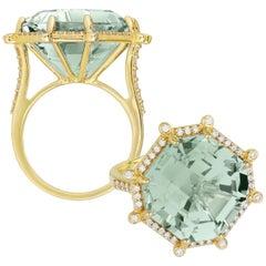 Goshwara Prasiolite and Diamond Large Octagon Ring
