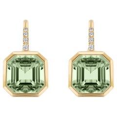 Goshwara Prasiolite Emerald Cut on Wire Earrings
