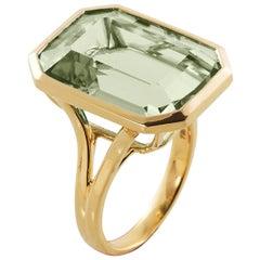 Goshwara Emerald Cut Prasiolite  Ring