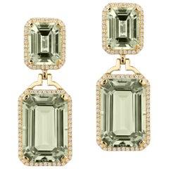 Goshwara Prasiolite Emerald Cut with Diamond Earrings