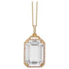 Goshwara Rock Crystal Emerald Cut with Diamonds Pendant