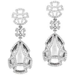 Goshwara Rock Crystal Teardrop and Diamond Earrings