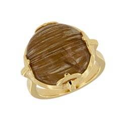 "Goshwara ""Rock-N-Roll"" Cabochon Rutilated Quartz 18 Karat Yellow Gold Ring"