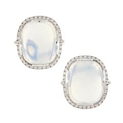 "Goshwara ""Rock-N-Roll"" Moon Quartz Diamond Earrings"