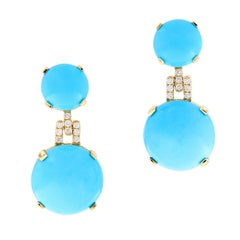 "Goshwara ""Rock-N-Roll"" Natural Turquoise Diamond Drop Earrings"