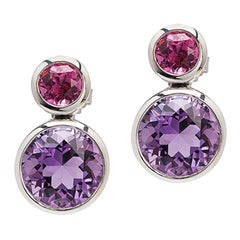 Goshwara Rubelite and Amethyst Double Bezel Earrings