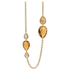 Goshwara Rutilated and Citrine Briolette Station Necklace
