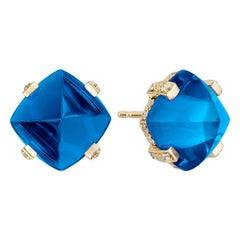 Goshwara Sugarloaf London Blue Topaz and Diamond Earrings