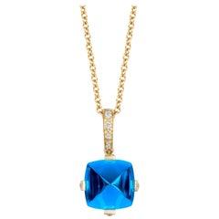 Goshwara Sugarloaf London Blue Topaz and Diamond Pendant
