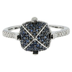 Goshwara Sugarloaf Pavé Sapphire and Diamond Gold Ring