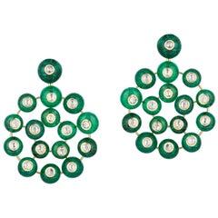 Goshwara Tiny Emerald Beads with Rose Cut Diamonds Earrings