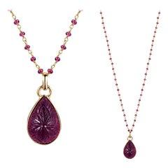 Goshwara Rubelite Pendant and Chain Necklace