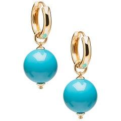 Goshwara Turquoise Bead Earrings on Hoops
