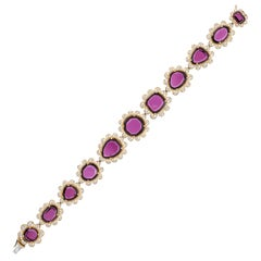 Goshwara Uneven Purple Garnet with Diamonds Bracelet