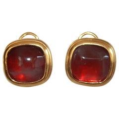 Gossens Paris Tinted Rock Crystal Clip Earrings