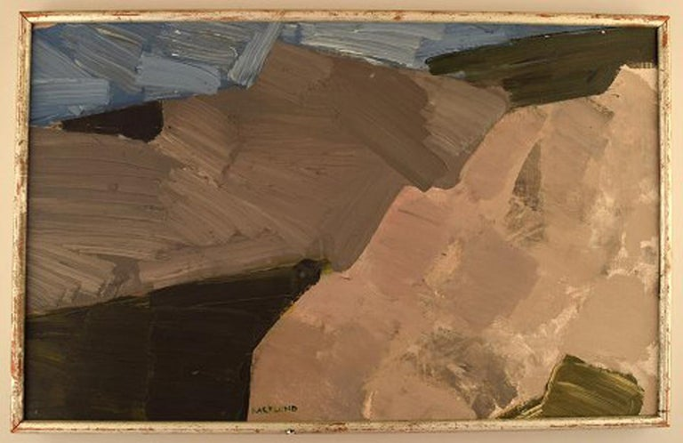 Gösta Backlund. Swedish artist. Oil on canvas. Modernist landscape. In perfect condition. The canvas measures measure: 60.5 cm x 37.5 cm. The frame measures: 1 cm. Signed. 1960s.