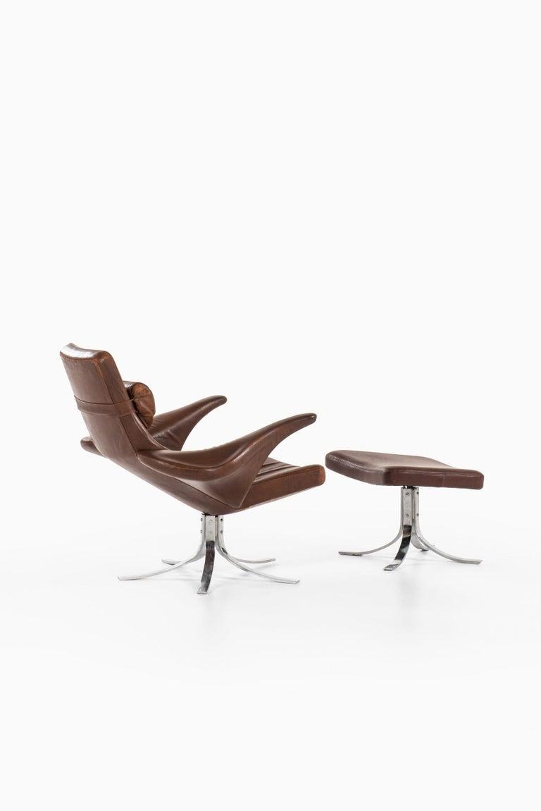 Gösta Berg Easy Chair with Stool Model Måsen / Seagull by Fritz Hansen For Sale 3