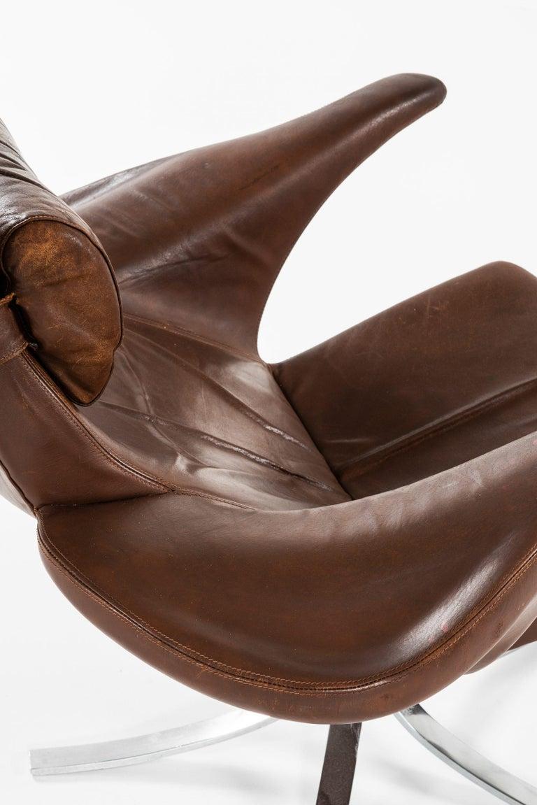 Gösta Berg Easy Chair with Stool Model Måsen / Seagull by Fritz Hansen For Sale 4