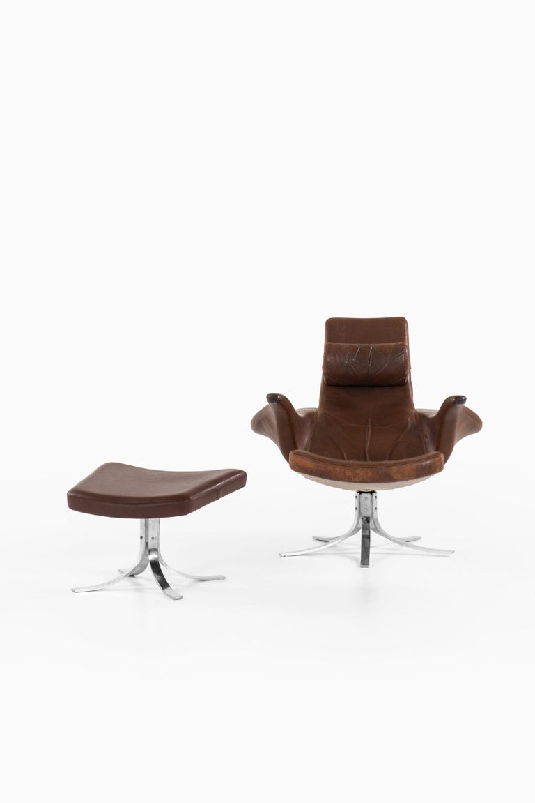 Gösta Berg Easy Chair with Stool Model Måsen / Seagull by Fritz Hansen In Good Condition For Sale In Malmo, SE