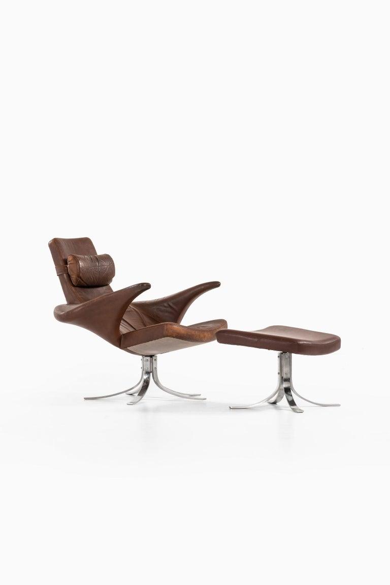 Late 20th Century Gösta Berg Easy Chair with Stool Model Måsen / Seagull by Fritz Hansen For Sale