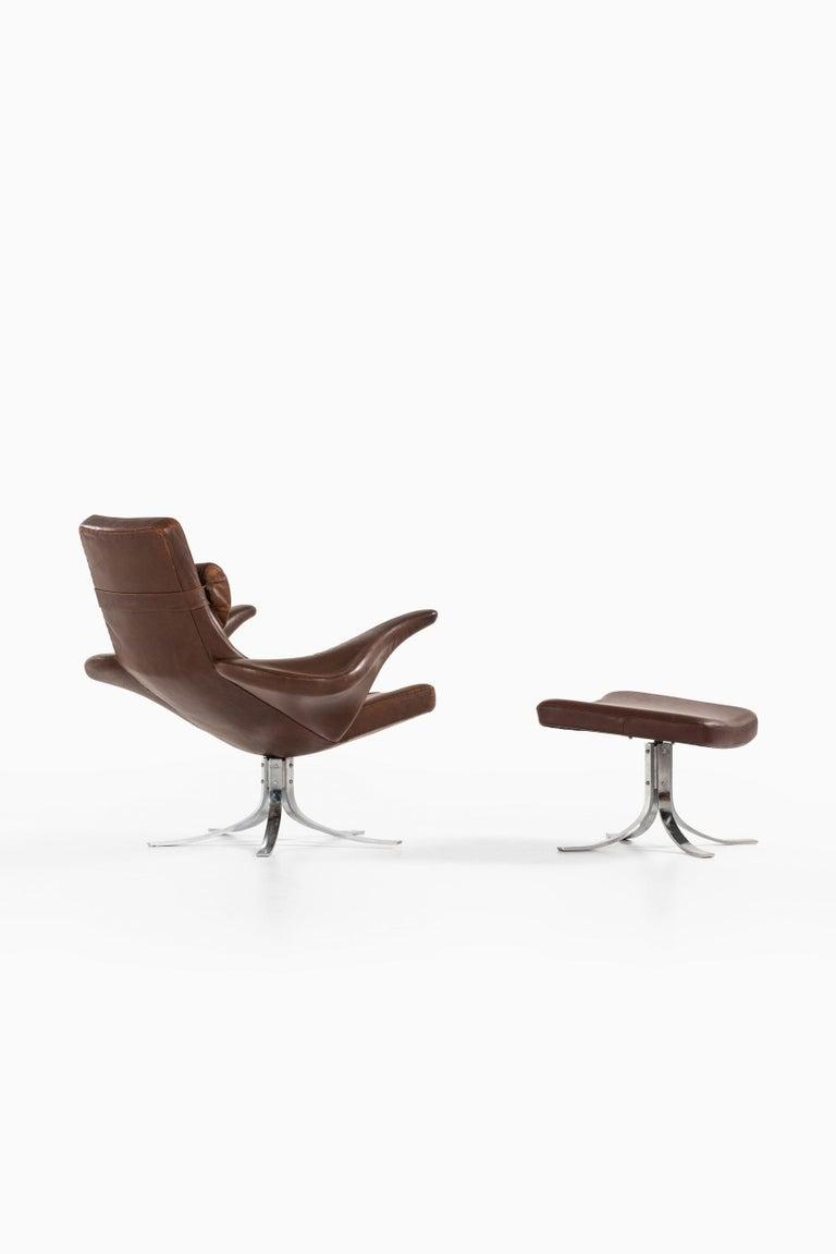 Gösta Berg Easy Chair with Stool Model Måsen / Seagull by Fritz Hansen For Sale 1